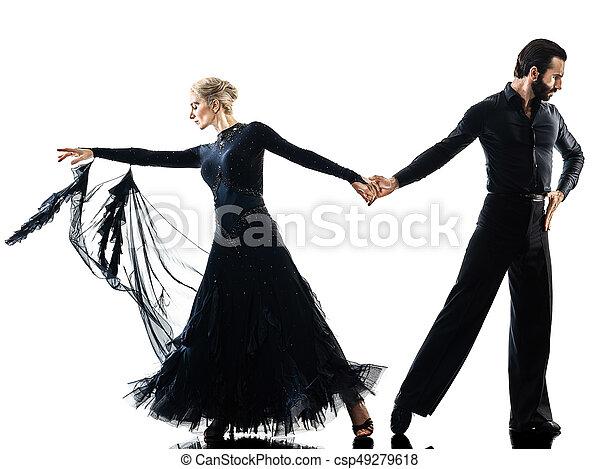 man woman couple ballroom tango salsa dancer dancing silhouette - csp49279618