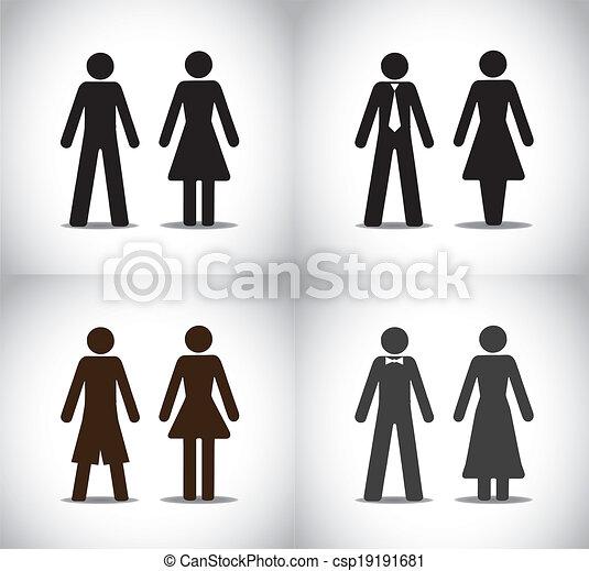 man woman or boy girl symbol set - csp19191681