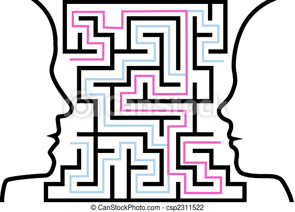 Man woman outline profiles face a puzzle in maze - csp2311522
