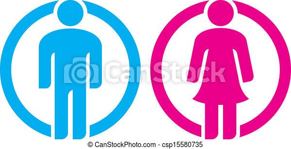 man & woman restroom sign - csp15580735