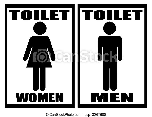 Man & Woman restroom sign on white - csp13267600