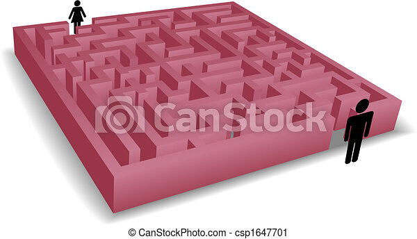 Man woman silhouettes face a puzzle maze - csp1647701