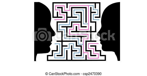 Man woman silhouettes face a puzzle maze - csp2470390