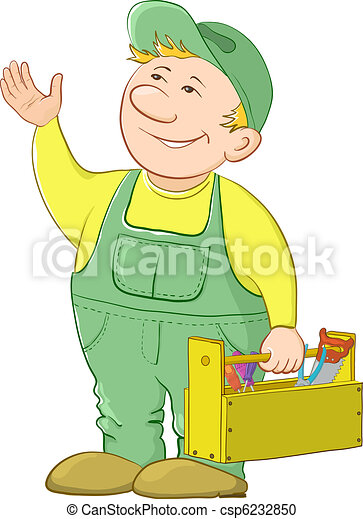 Man worker with a toolbox - csp6232850