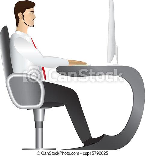 Man working at computer. Vector - csp15792625