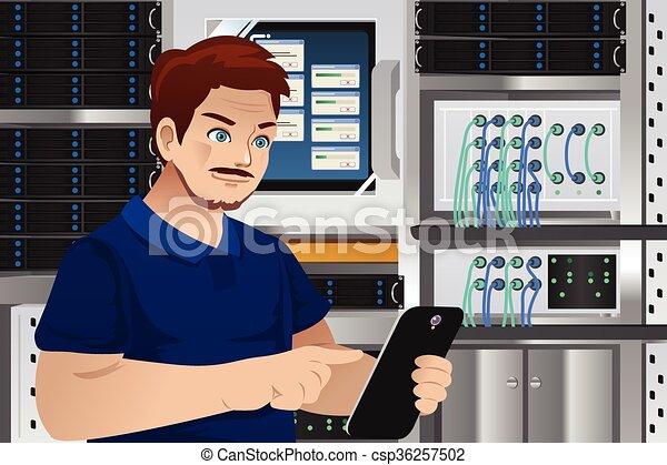 Man Working in Computer Server Room - csp36257502