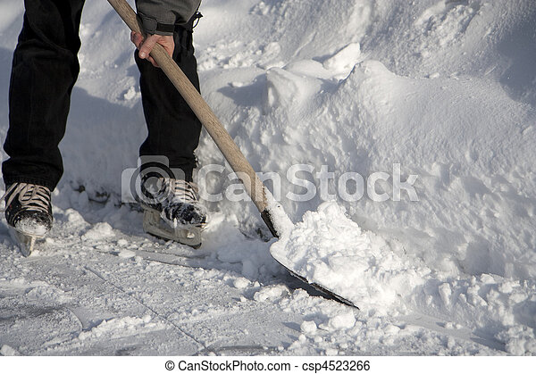 Man working with snow shovel - csp4523266