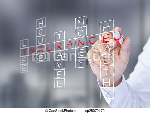 Man write life insurance concept - csp25072170