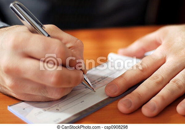 Man writing a check - csp0908298