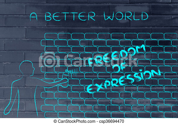 Man writing freedom of expression as wall graffiti caption a better man writing freedom of expression as wall graffiti caption a better world csp36694470 ccuart Image collections