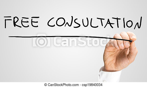 Man writing the words - Free Consultation - csp19840034