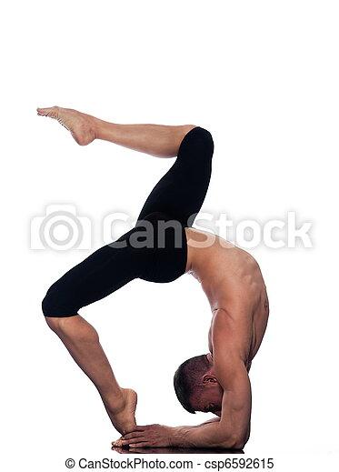 man yoga eka pada viparita dandasana pose caucasian man