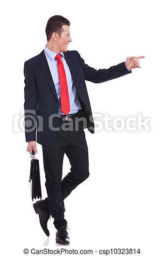 man, zijn, wijzende, zakelijk, bovenkant - csp10323814