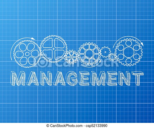 Management blueprint management text with gear wheels hand eps management blueprint csp52133990 malvernweather Image collections
