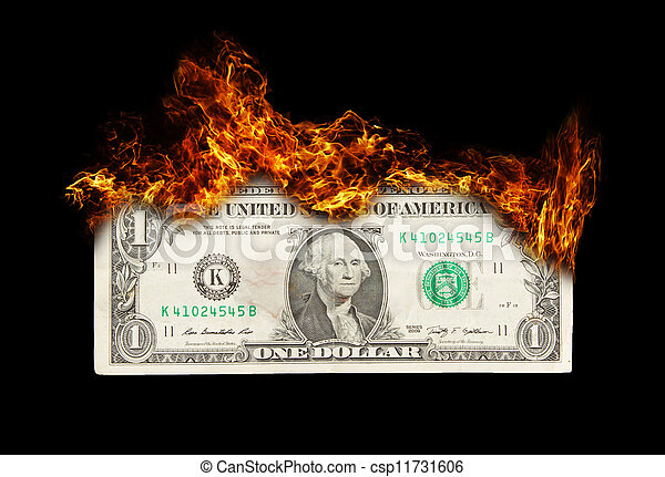 management, burning, geldbiljet, dollar, symbolizing, slordig - csp11731606