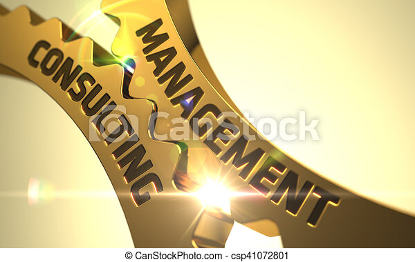 Management Consulting Concept. Golden Metallic Gears. 3D. - csp41072801