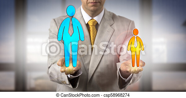 Manager Contrasting Small Versus Big Male Worker - csp58968274