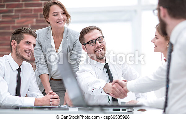 Manager shaking the hand of the customer - csp66535928