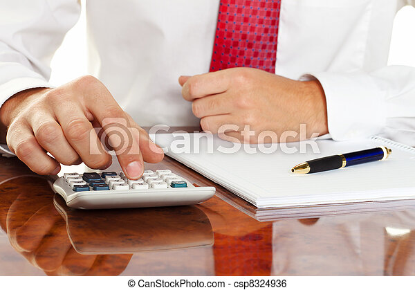 manager with calculator - csp8324936