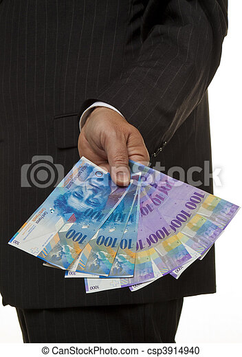Manager with Swiss franc banknotes - csp3914940