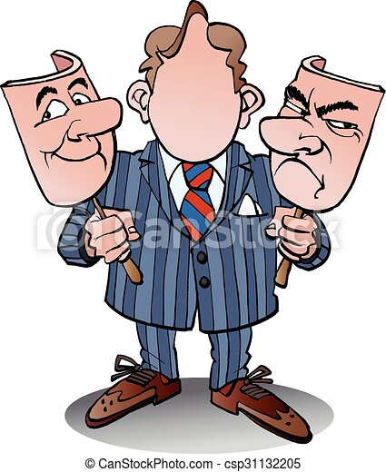 Cartoon businessman with two heads, vector illustration Stock Vector Image  & Art - Alamy