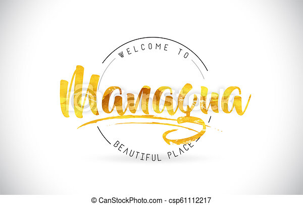 Managua Welcome To Word Text with Handwritten Font and Golden Texture Design. - csp61112217