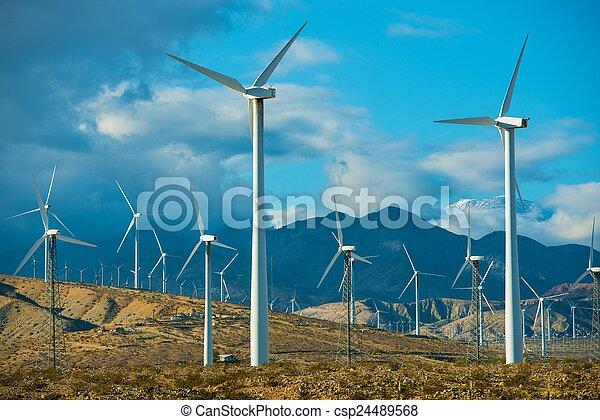 mancha, ventoso, turbinas, vento - csp24489568