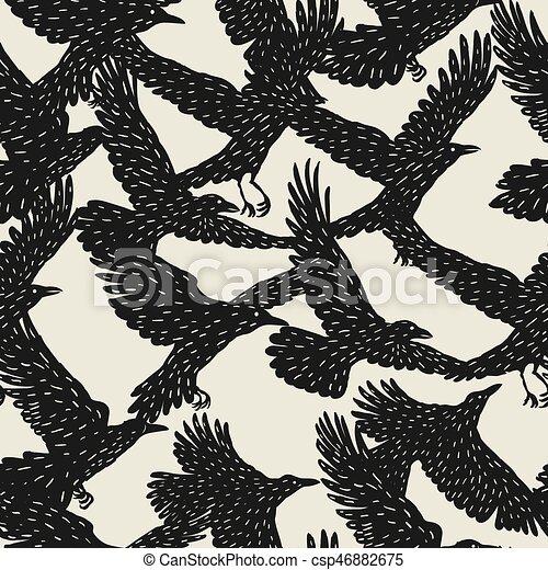Patrón sin cortes con cuervos voladores negros. Pájaros dibujados a mano - csp46882675