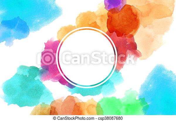 Pintura de color manchado de acuarela con espacio de copia en círculo - csp38087680