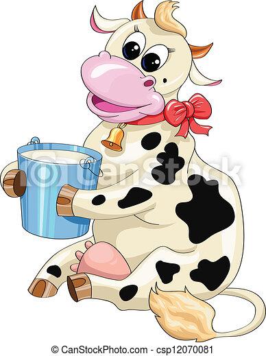 Grfico vectorial de manchado cubo vaca de la leche caricatura