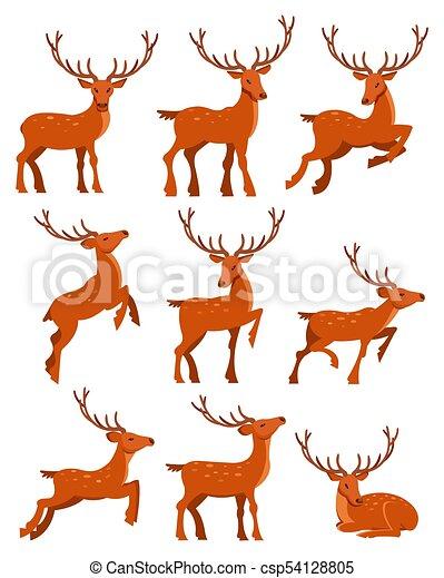 manchado, cute, diferente, jogo, veado, deers, vetorial, ilustrações, poses, caricatura - csp54128805