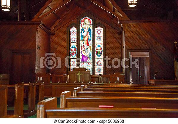 manchado, pews, vidrio, madera, iglesia, pequeño - csp15006968