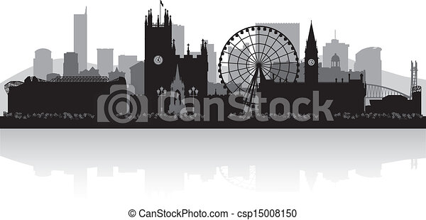 Manchester city skyline silhouette  - csp15008150