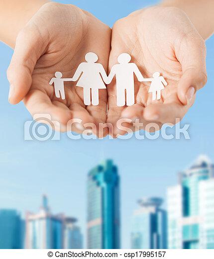 mand, avis, kvindelig, familie, hænder - csp17995157