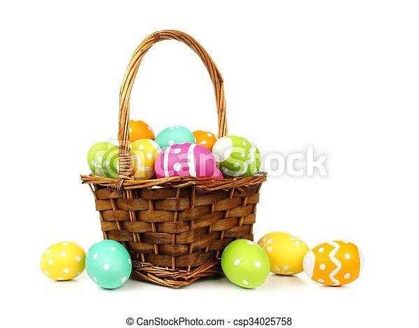 mand, eitjes, pasen, gevulde, kleurrijke - csp34025758