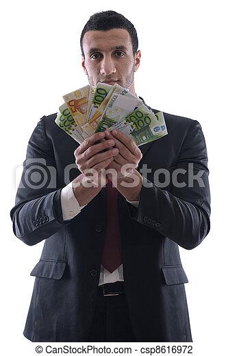 mand, holde penge, firma - csp8616972