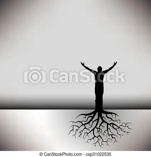 mand, røder, træ - csp31022530