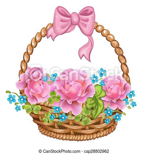 mand, roze, roses. - csp28802962