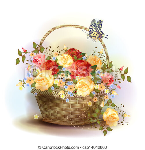 mand, wicker, victoriaans, roses., style. - csp14042860