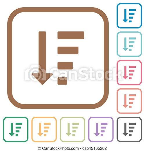 mandado, ícones, simples, lista, descendendo, modo - csp45165282