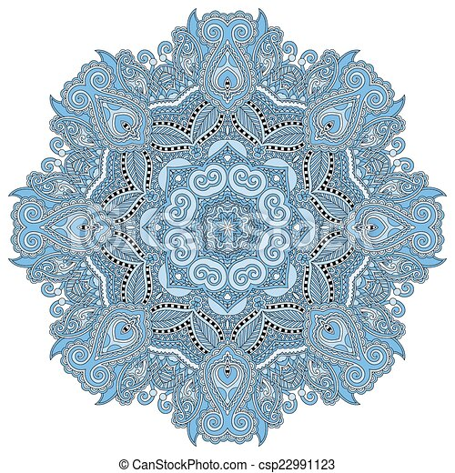 mandala, blue colour circle decorative spiritual indian symbol - csp22991123