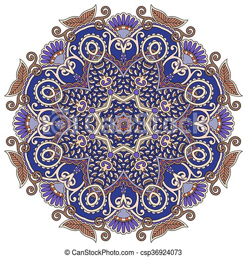 mandala, circle decorative spiritual indian symbol of lotus flow - csp36924073