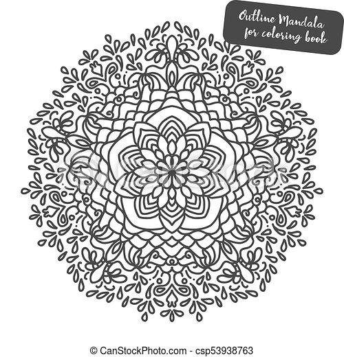 Mandala. Coloring book pages. Indian antistress medallion. Abstract islamic  flower, arabic henna design, yoga symbol