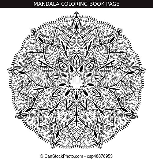Mandala Coloring Book Pages Indian Antistress Medallion White Background Black Outline Vector