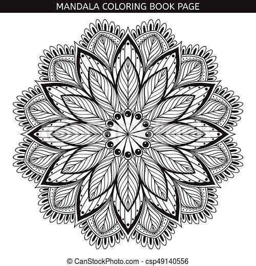 Mandala coloring book pages indian antistress medallion