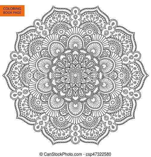 Mandala design element coloring book