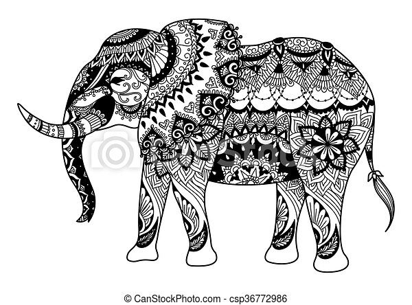 Mandala Elephant Zendoodle Design Of For Element