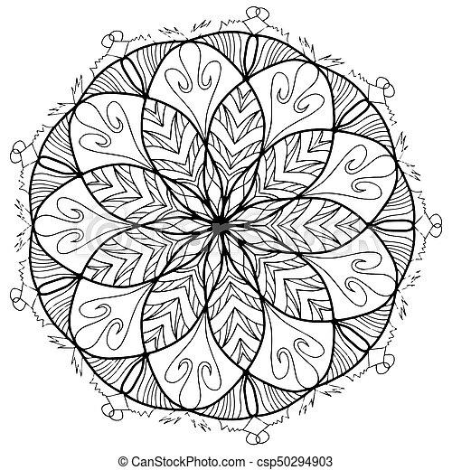 Mandala flower coloring raster for adults. Mandala flower... stock ...