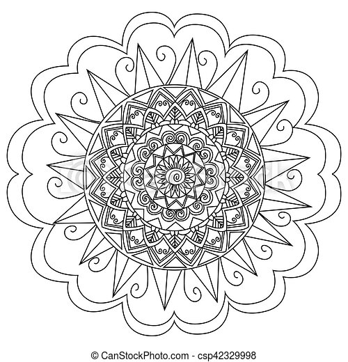 Mandala flower coloring vector for adults. Mandala flower... eps ...