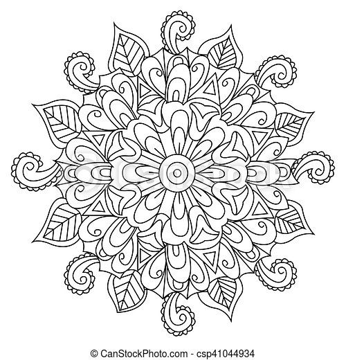 Mandala Flower Coloring Vector For Adults Mandala Flower Coloring
